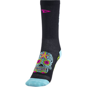 "DeFeet Aireator 5"" Single-Bund Socken sugar skull (schwarz/hellblau)"